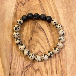 Dalmatian Jasper and Lava Rock 8mm Bead Bracelet